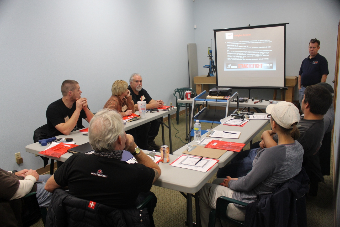 Students from Reno, Sparks, Carson City, Las Vegas Nevada attending Level 1 Firearms Safety and Training NRA and CCW Class.